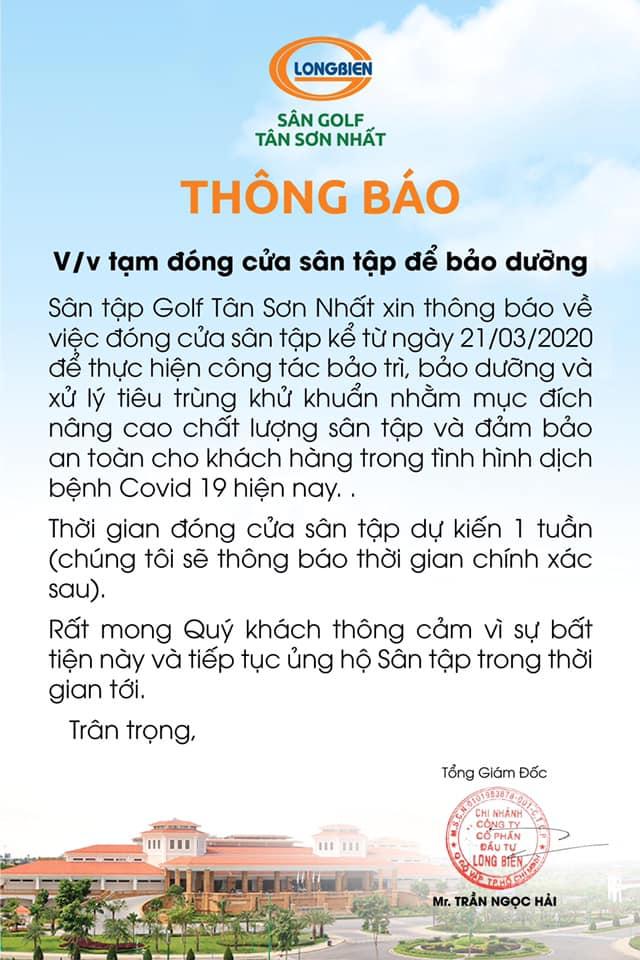 SÂN GOLF TÂN SƠN NHẤT TRÂN TRỌNG THÔNG BÁO