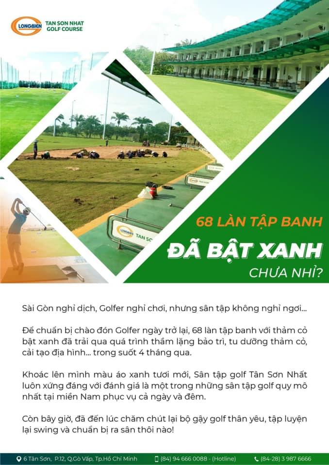 """68 làn tập banh của sân tập golf Tân Sơn Nhất cũng đã """"bật xanh"""" ???  Cả nhà mình lên dây cót, chuẩn bị tinh thần thôi nào…"""