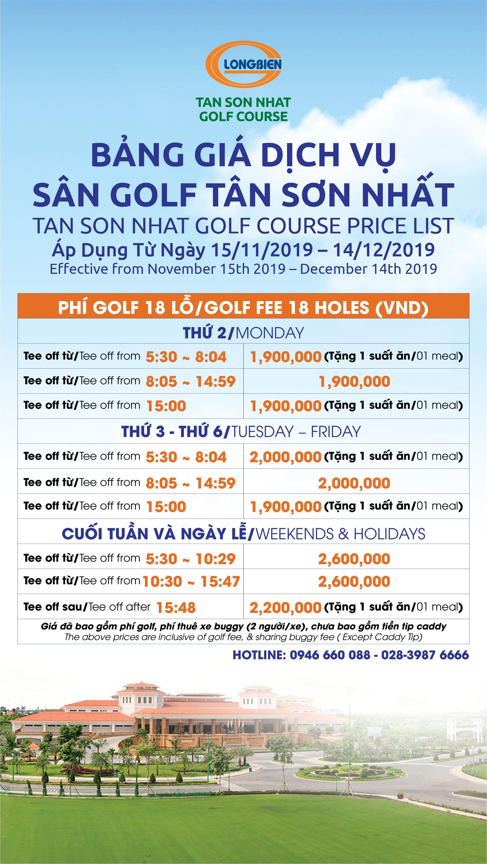 Bảng giá Dịch vụ Sân Golf Tân Sơn Nhất áp dụng từ 15/11/2019 - 14/12/2019