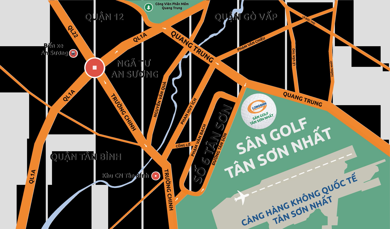 Hướng từ ngã tư An Sương - sân golf Tân Sơn Nhất