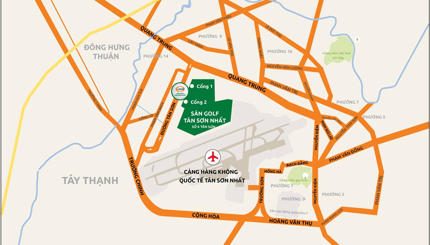 Hướng từ sân golf Tân Sơn Nhất - sân bay Tân Sơn Nhất