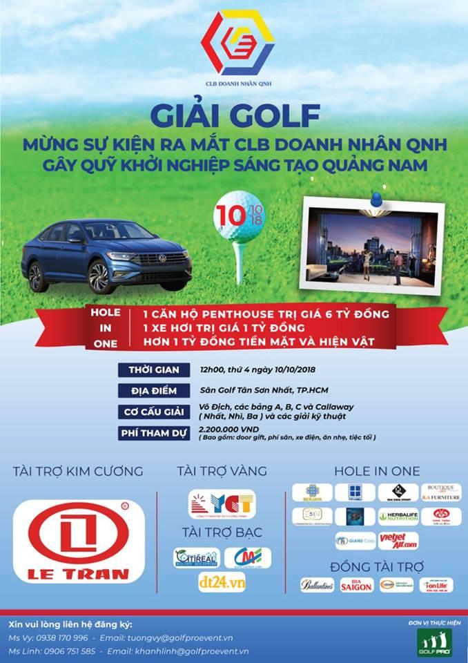Giải golf 'Mừng sự kiện ra mắt CLB Doanh Nhân QNH': Tổng giá trị giải thưởng 9 tỉ đồng